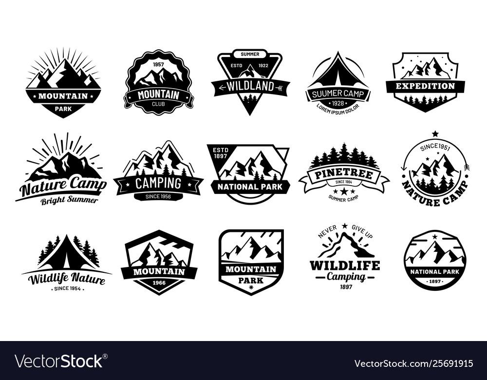 Outdoors nature badges adventure emblem vintage