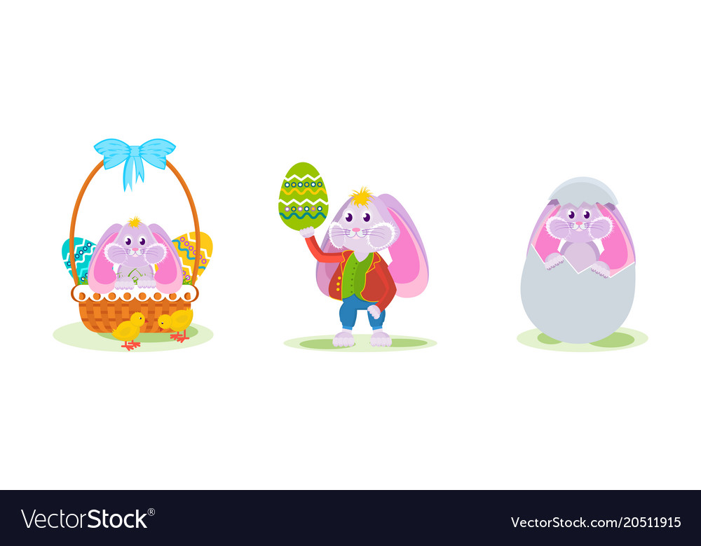 Rabbit in decorative basket with dyed egg in hand