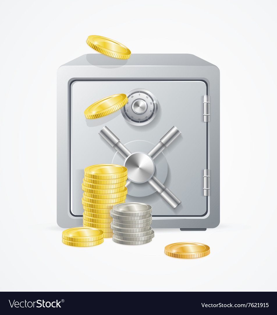 Safe and Money Different Coins