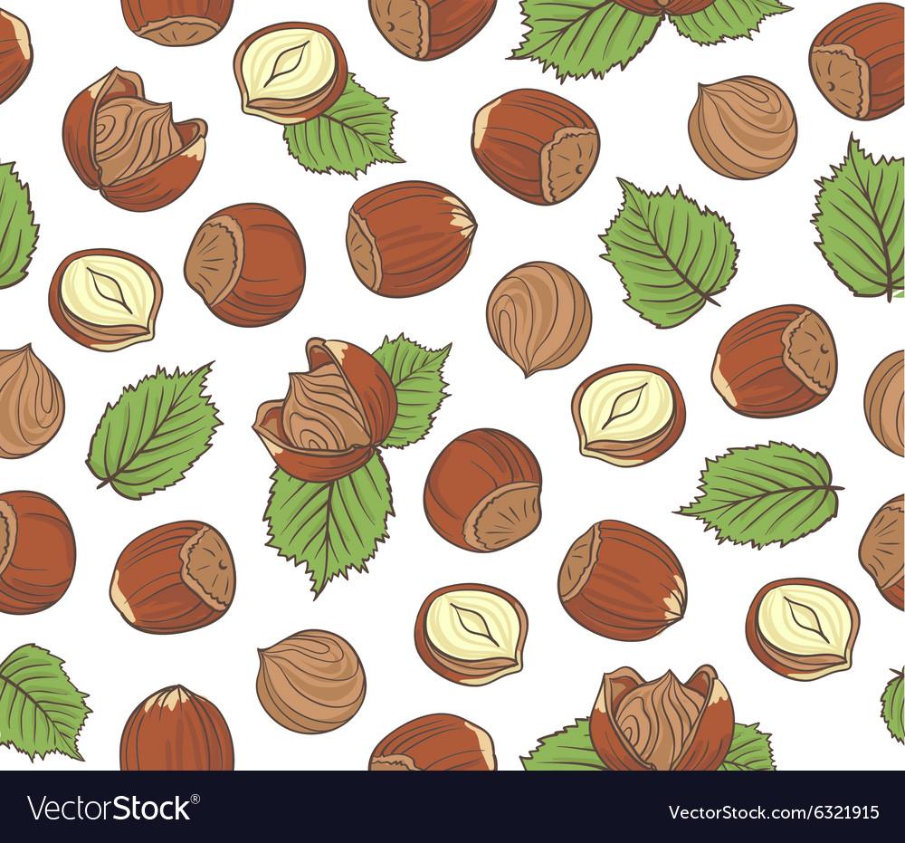 Seamless pattern with hand drawn hazelnuts on