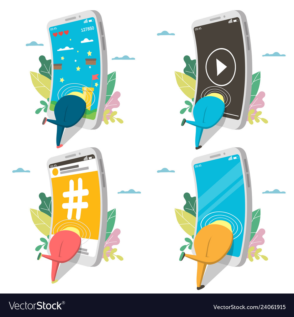 Smartphone addiction icon set isolated