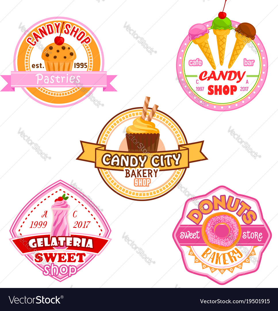 Sweet dessets icons for candy shop