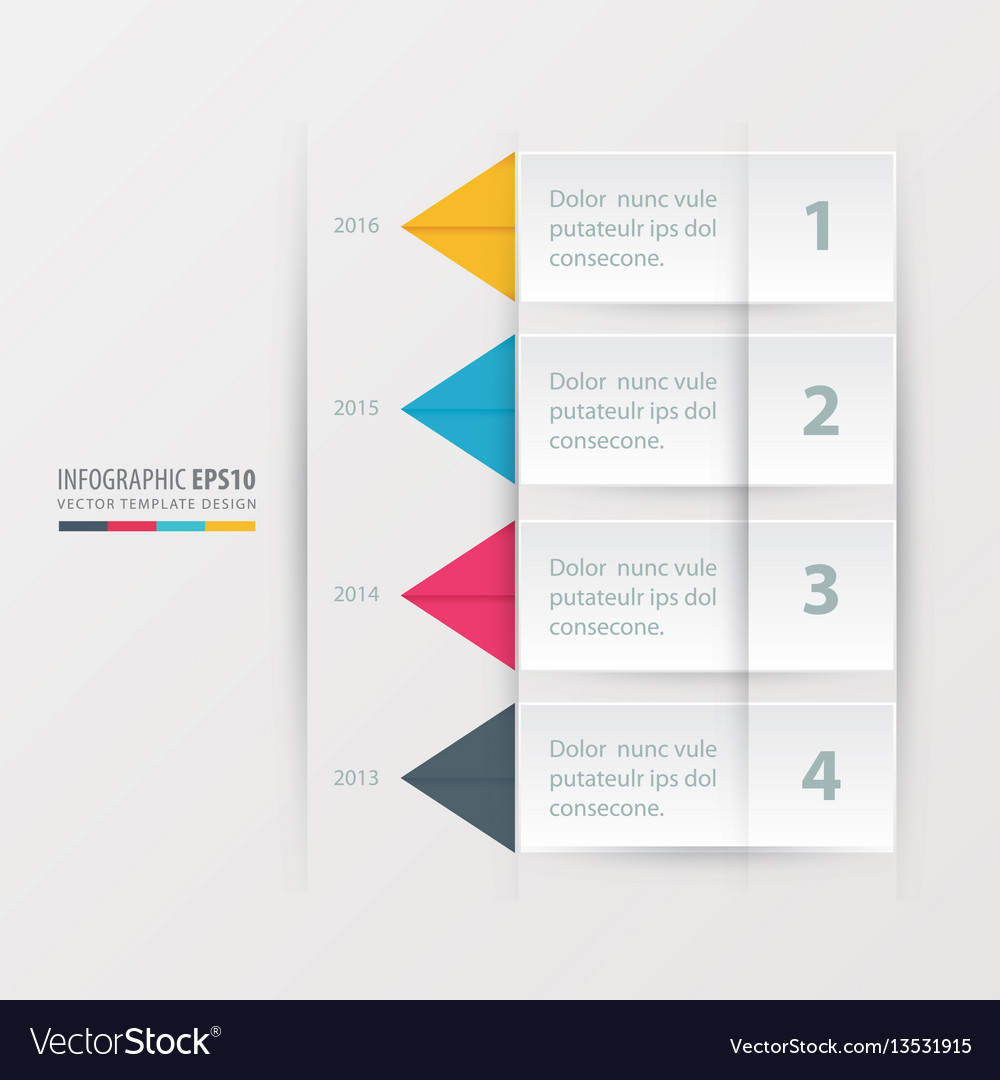 Timeline report template yellow blue pink color vector image