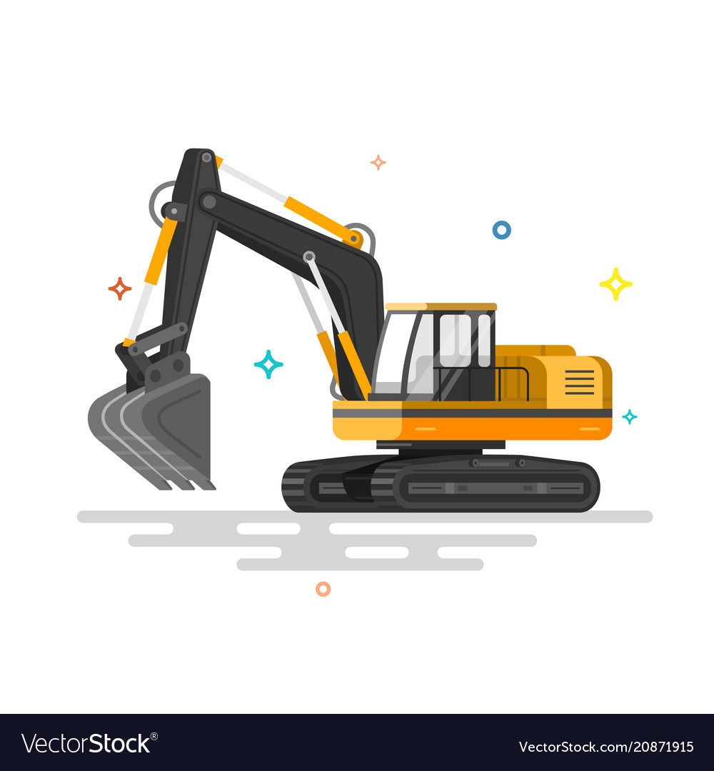 With flat industrial excavator