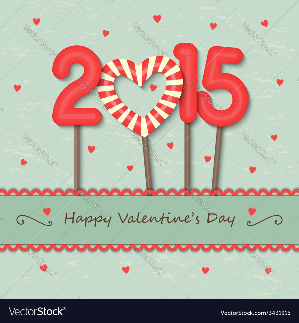 Year 2015 and heart candy background vector image