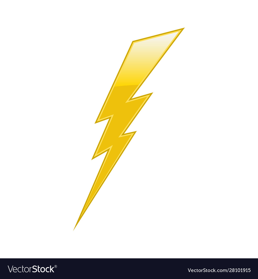 Yellow electric lightning bolt on white background