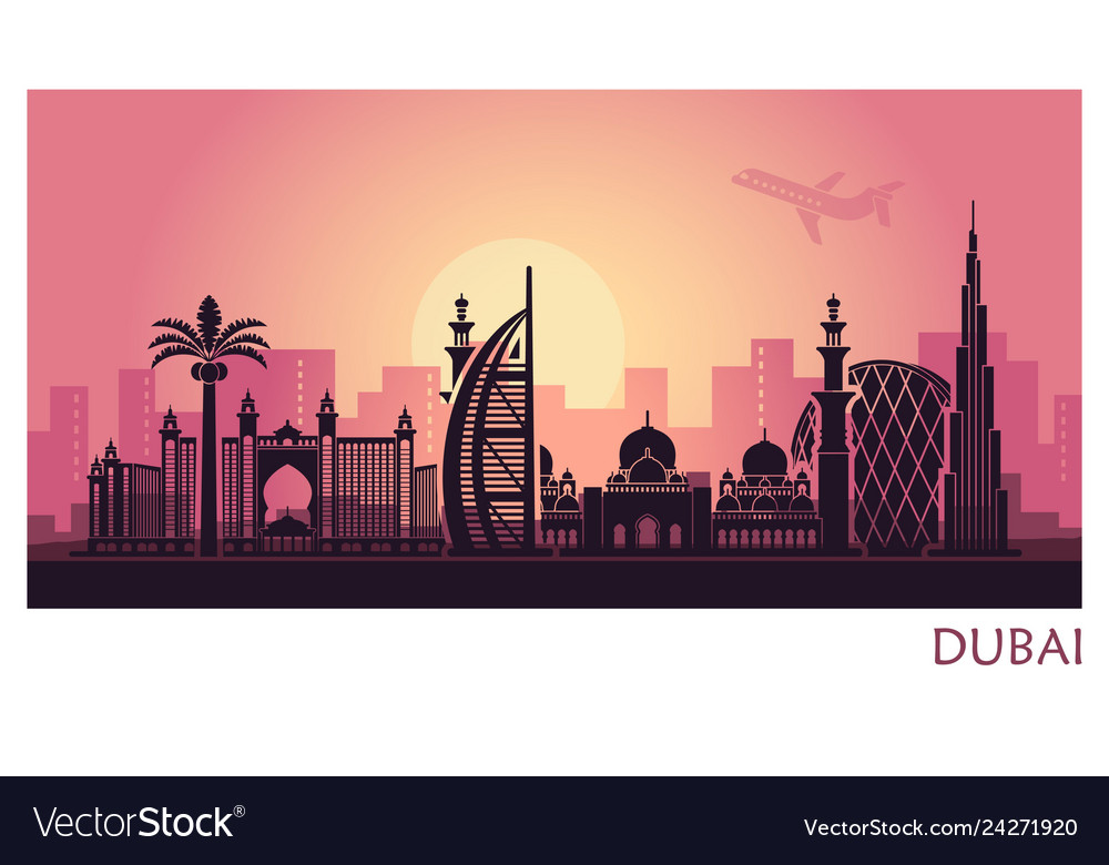 Abstract dubai city landscape with sunset