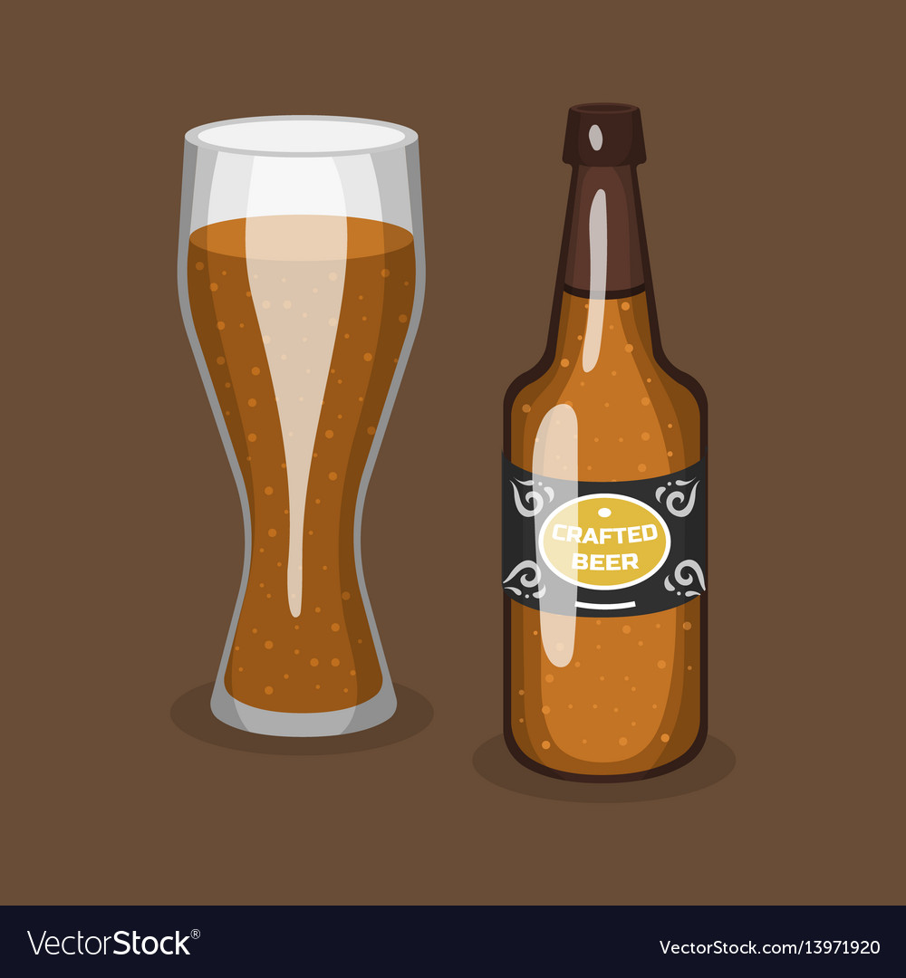 Alcohol beer transparent glass and bottle