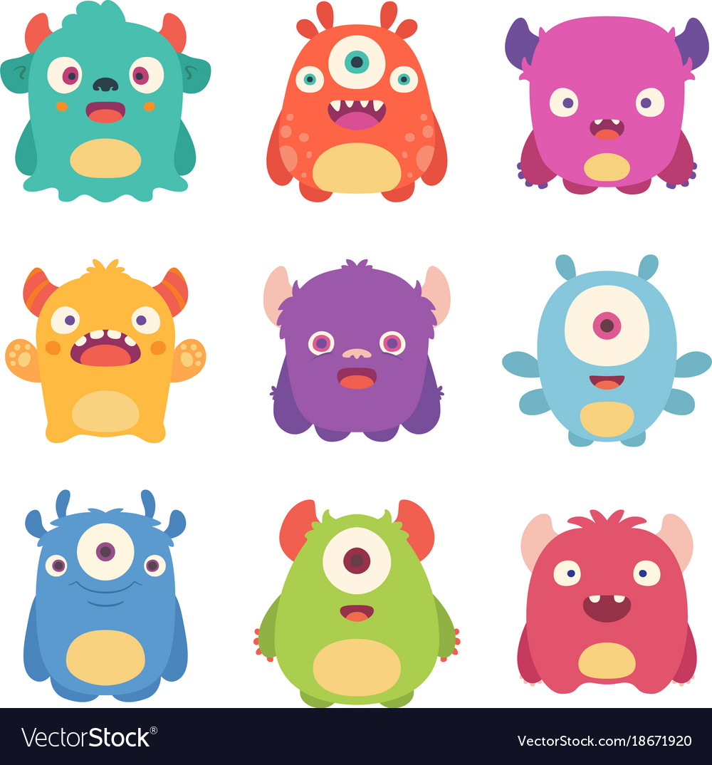 cute cartoon monsters royalty free vector image rh vectorstock com images of cartoon monsters pictures of scary cartoon monsters