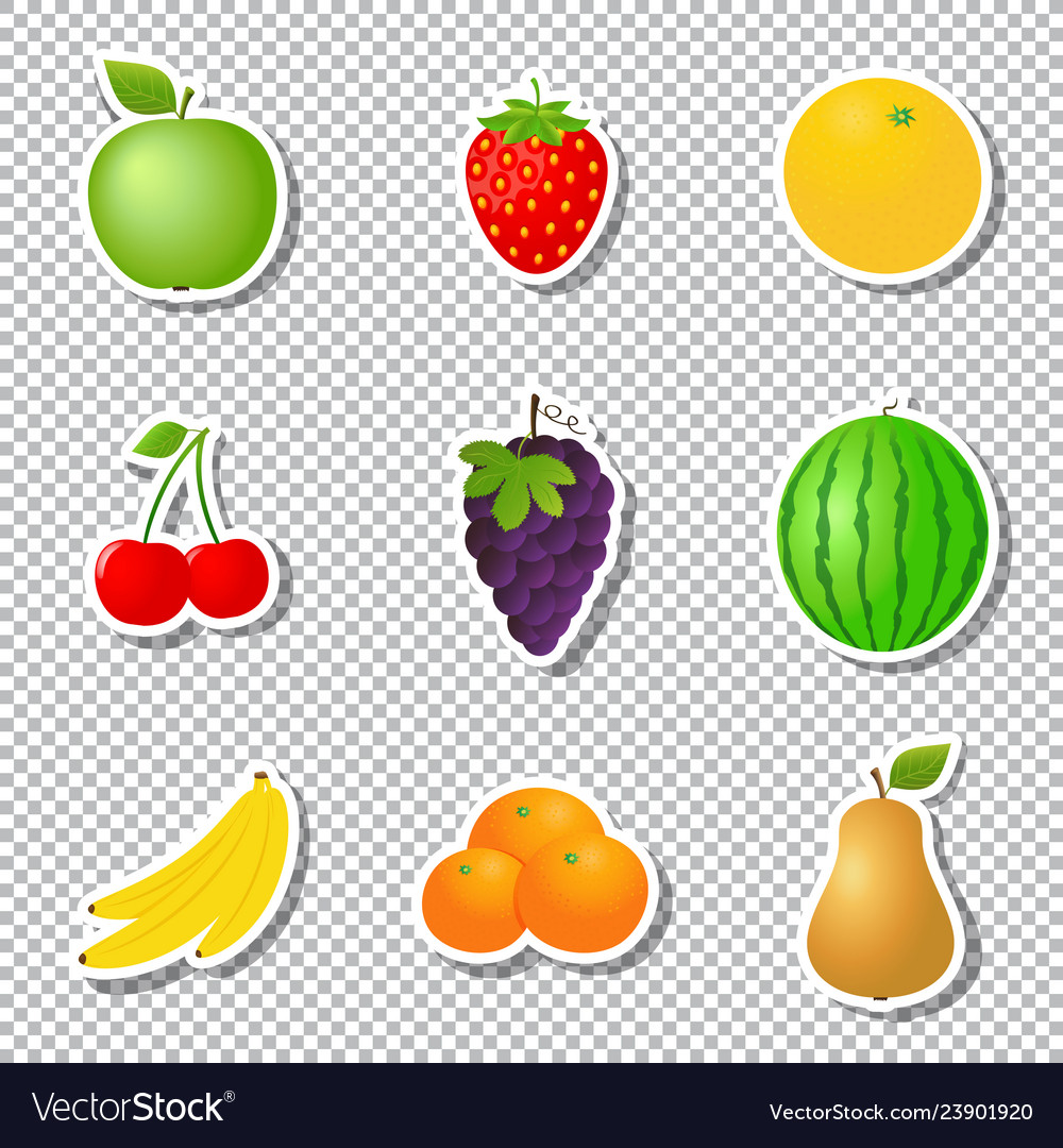 Fruit stickers isolated on transparent background
