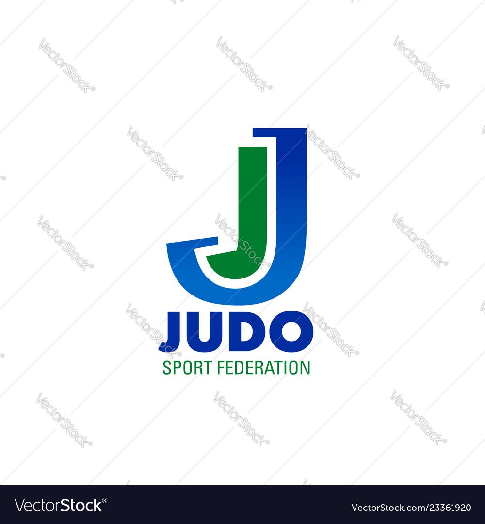 Judo icon for combat sport club emblem design