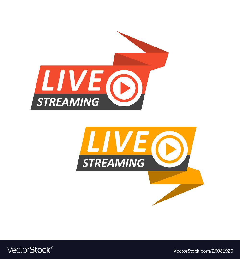Live streaming logo on banner - play button