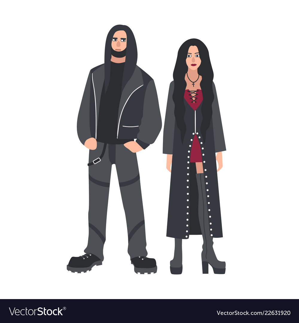 Man and woman with long loose hair dressed in