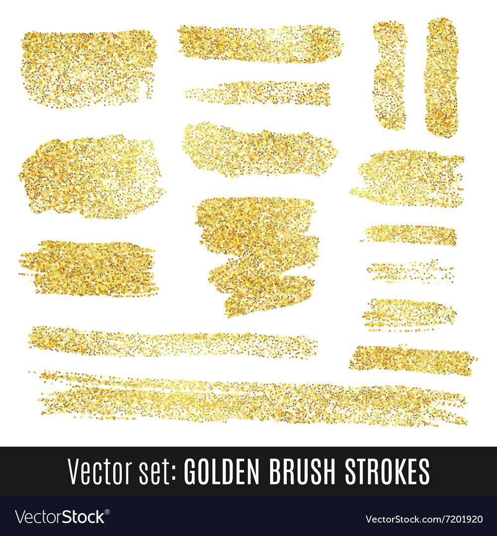 Set golden watercolor brush stroke isolated on