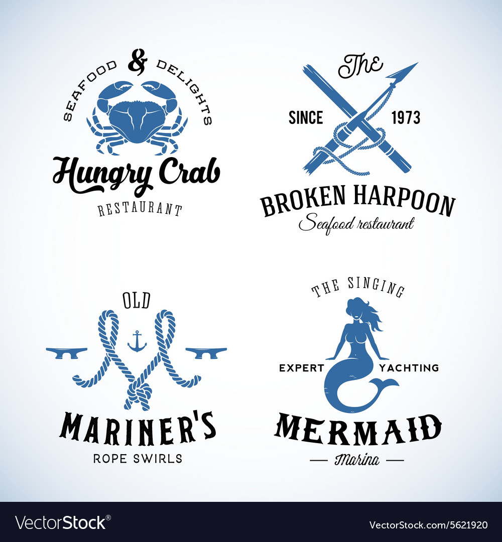 Set of Vintage Nautical Sea Labels with Retro