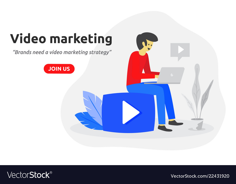 Social video marketing concept modern flat design
