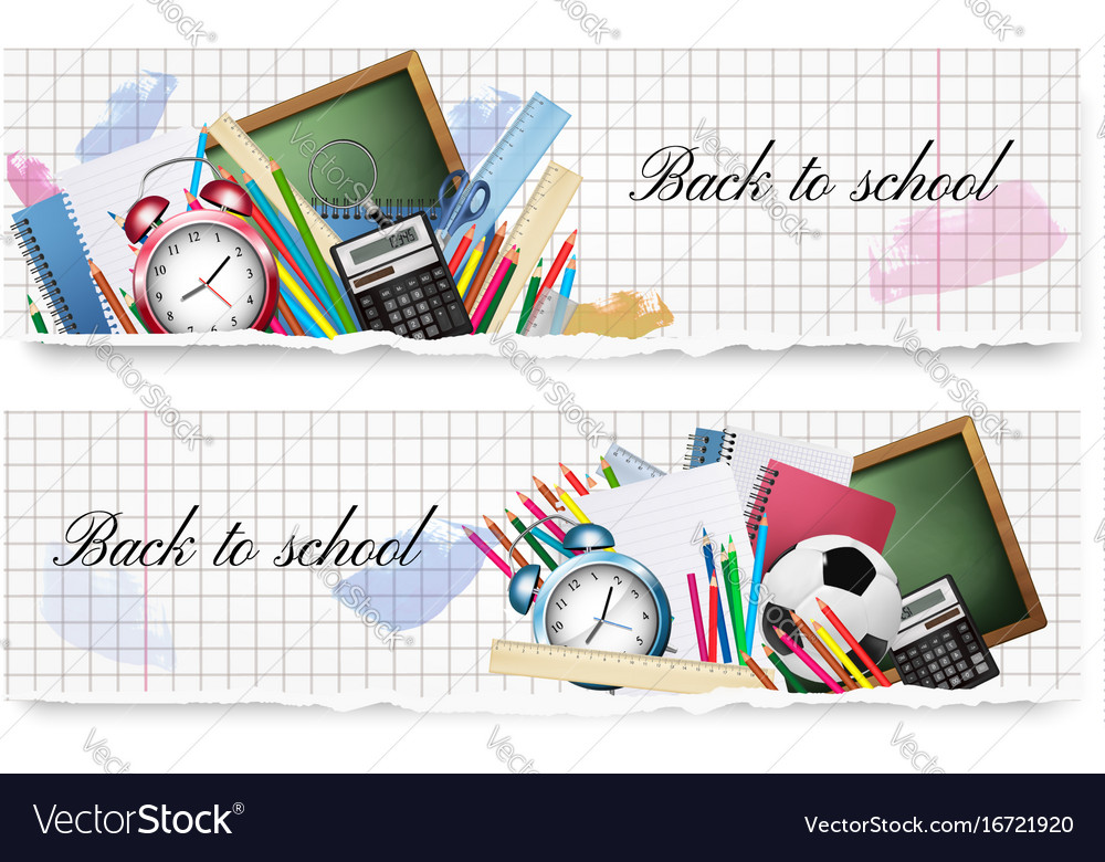 Two back to school banners with school supplies