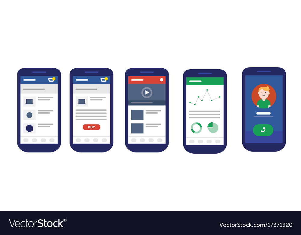 User interface mobile design ui smart phone vector image