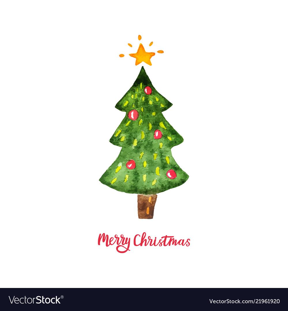 Watercolor christmas tree merry christmas and