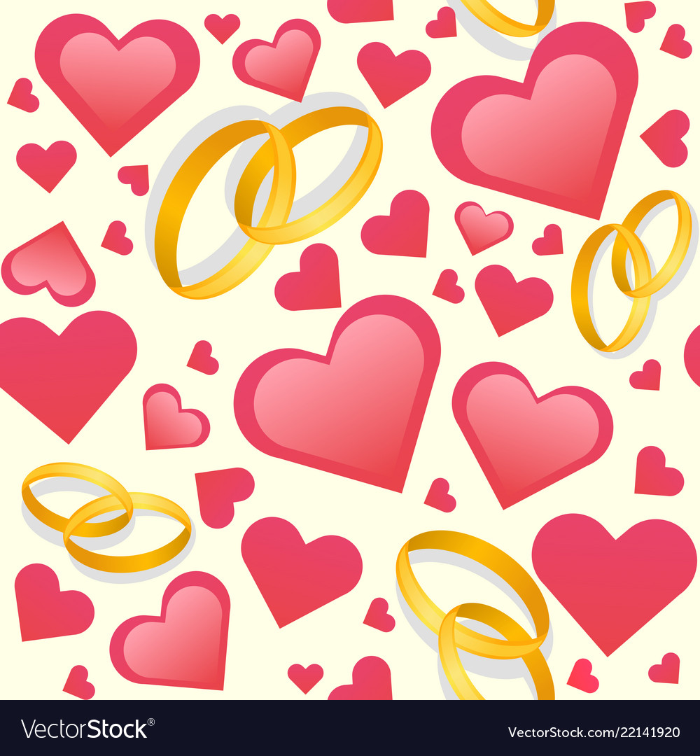 Wedding rings and hearts seamless pattern Vector Image