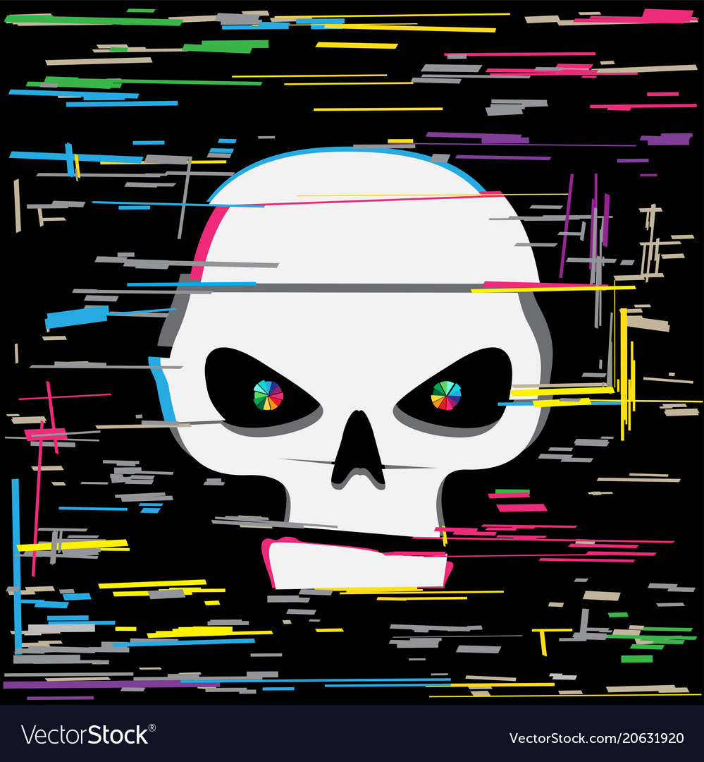 White glitch hacker skull