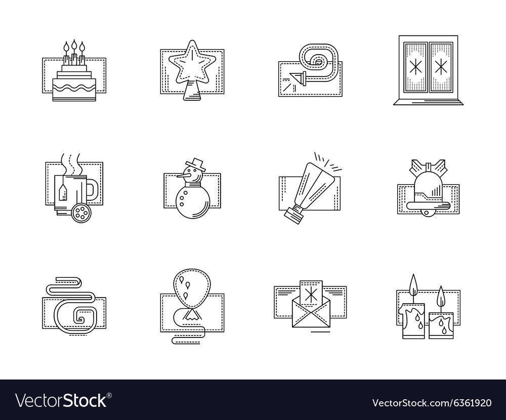 Winter holidays black line icons set