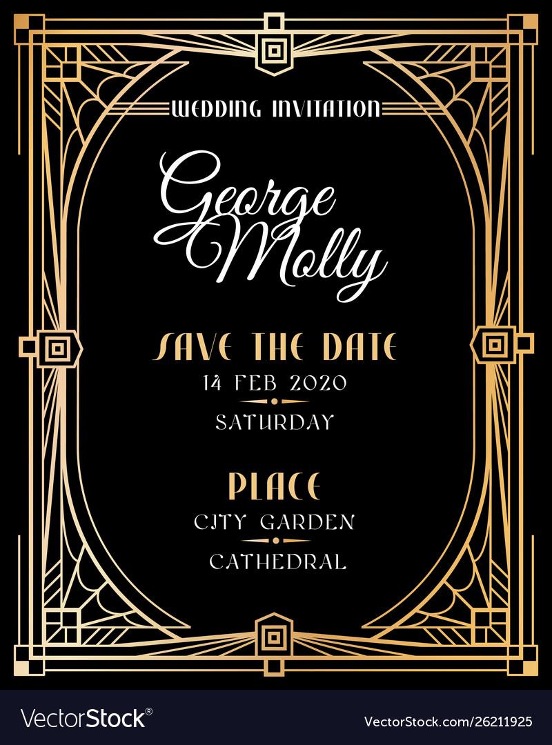 Art deco invitation wedding art deco card