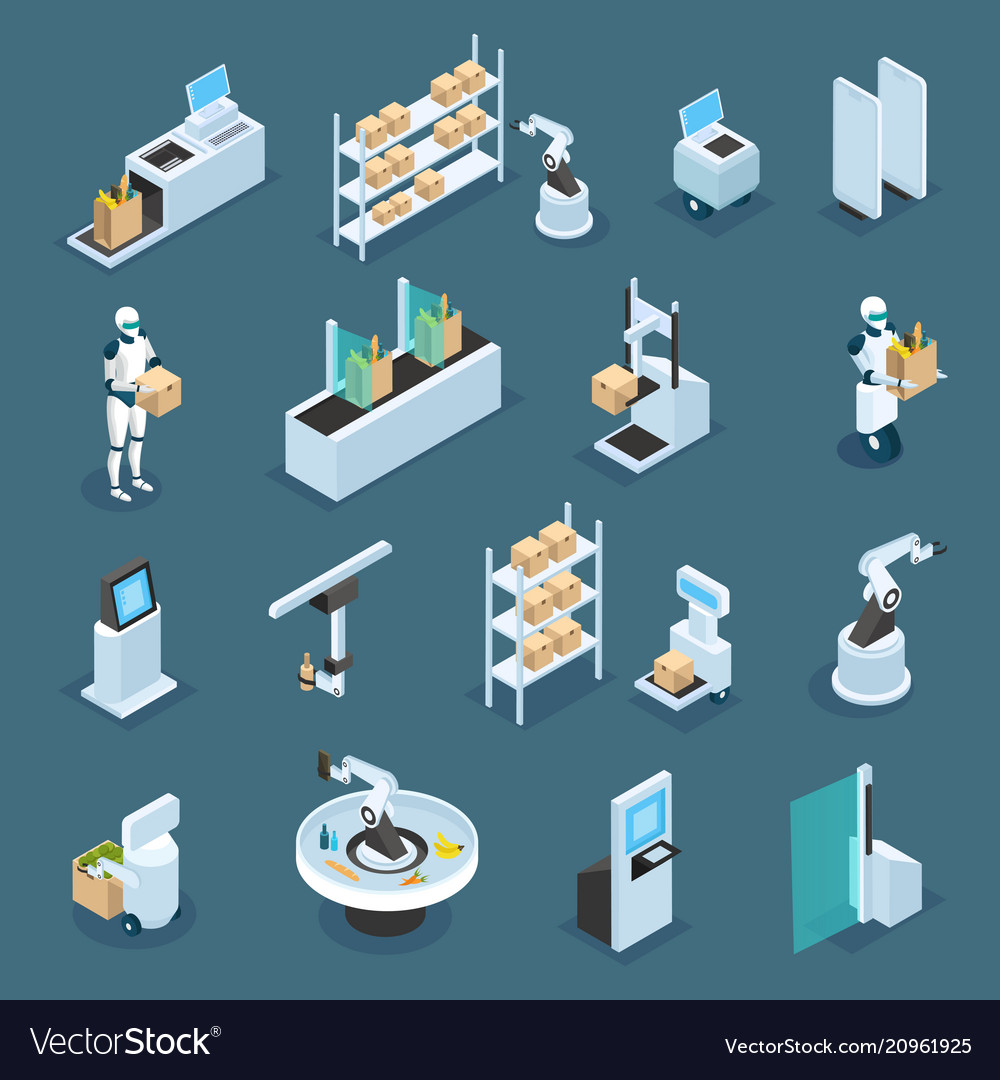 Automated shops isometric icons vector image