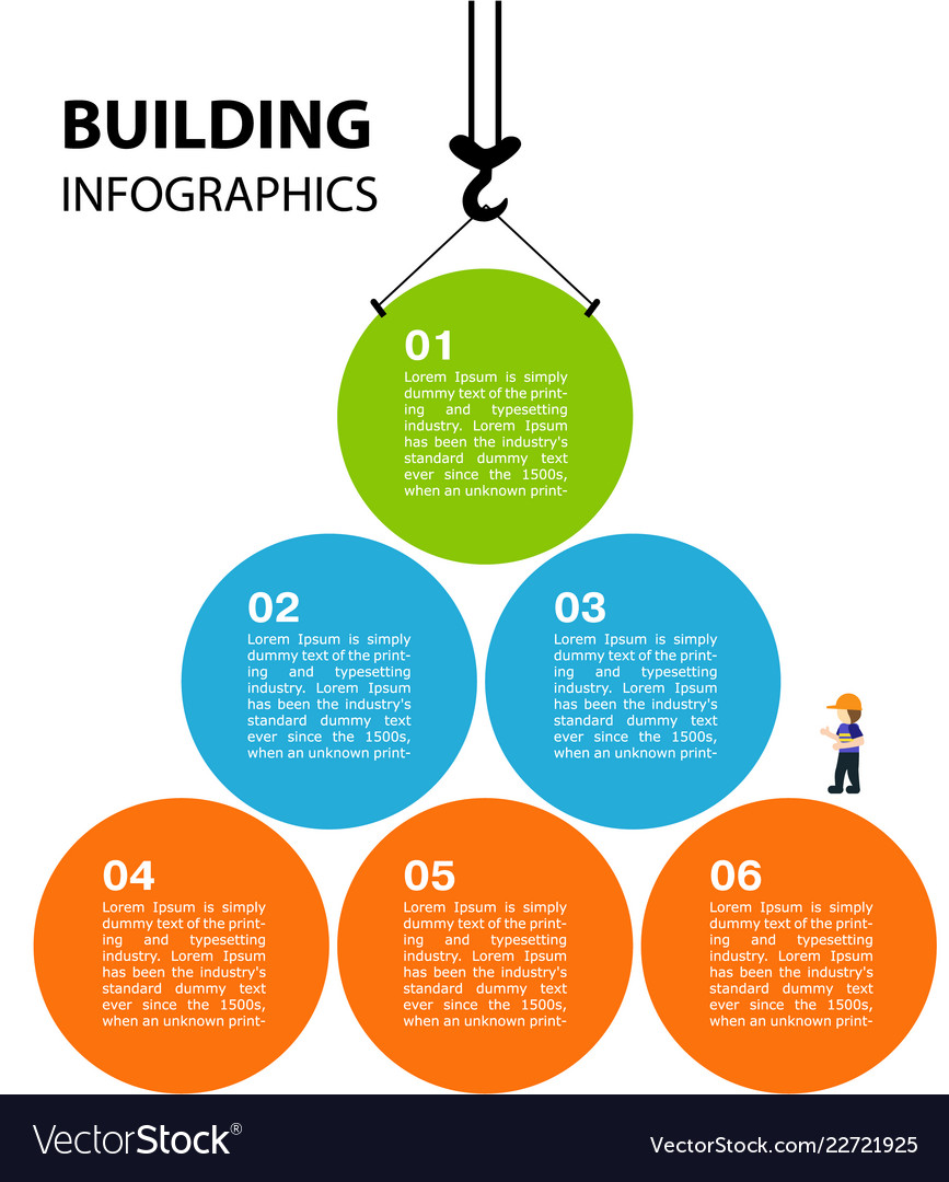 Bright infographics on the theme of building a