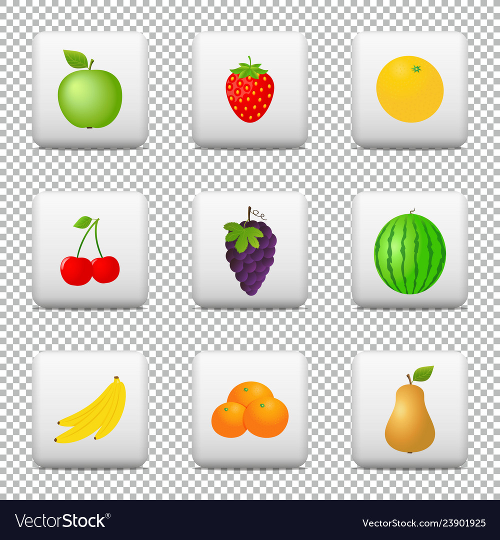 Buttons with fruits isolated on transparent