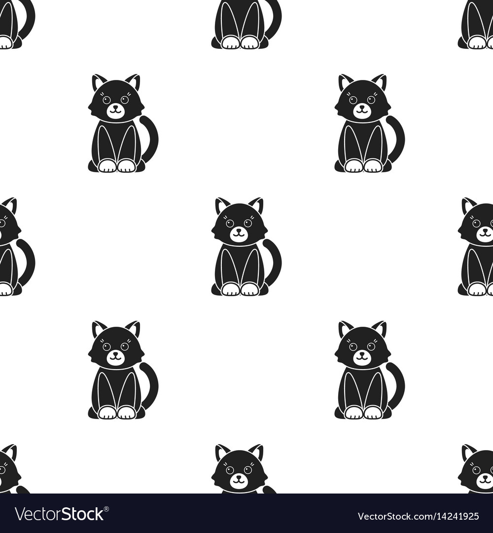 Cat black icon for web and mobile vector image