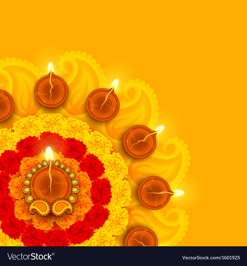 Decorated Diwali Diya on Flower Rangoli