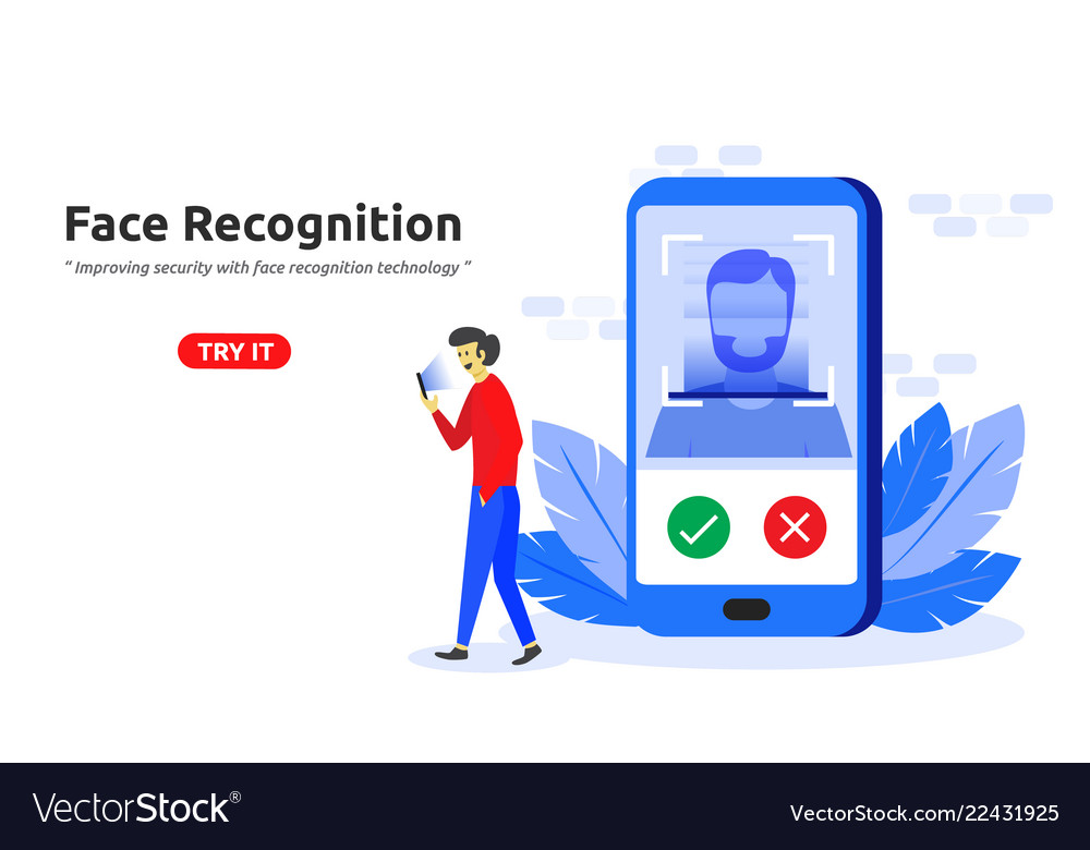 Face recognition technology concept modern flat