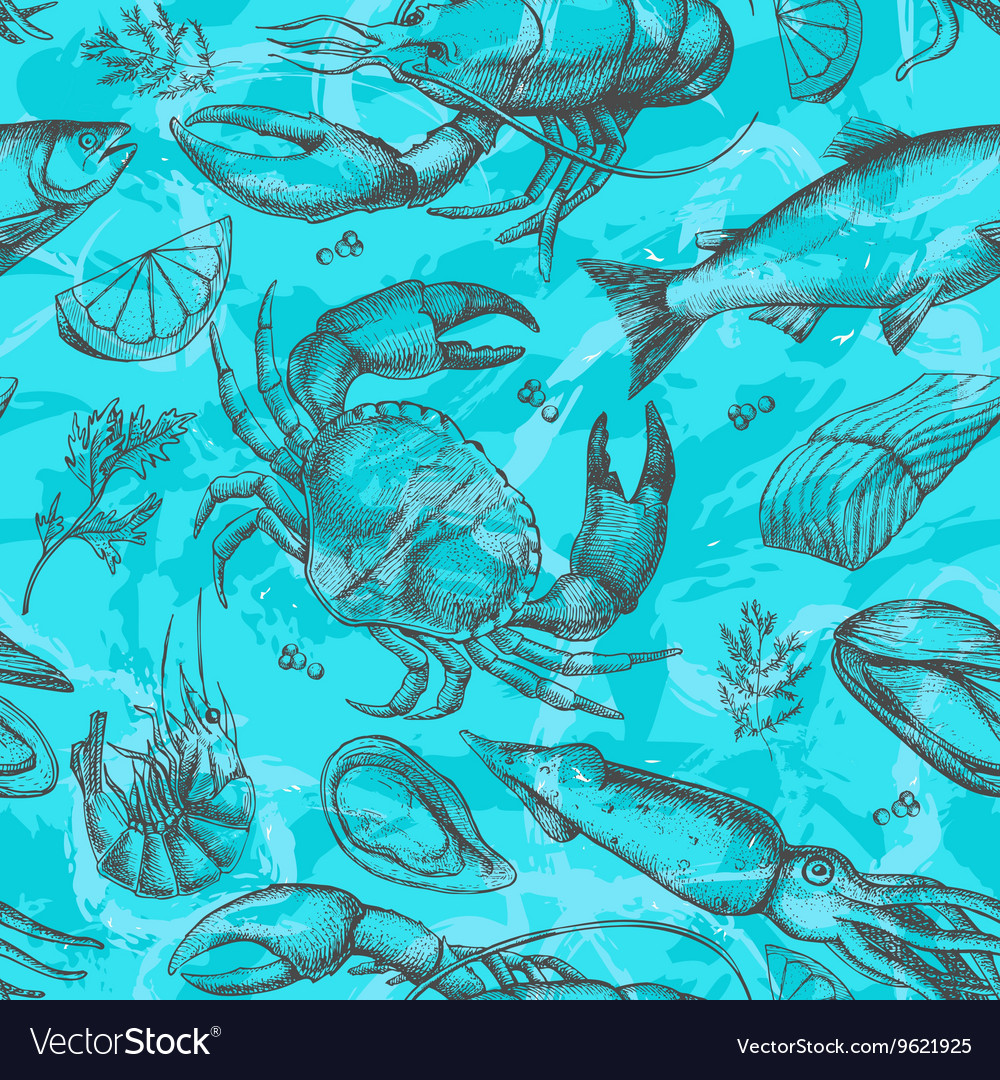 Hand drawn seafood pattern Vintage vector image