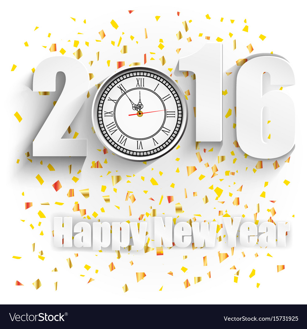 Happy new year for 2016 with clock