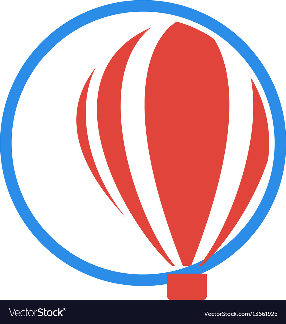 Isolated logo of aerostat in a blue circle