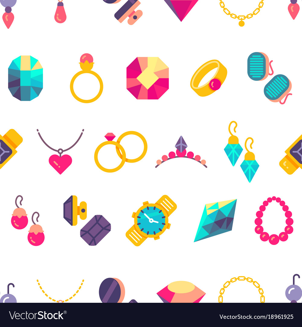 Luxury jewelry flat style seamless texture
