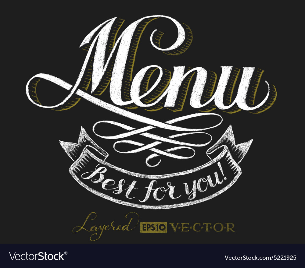 Menu Chalk lettering