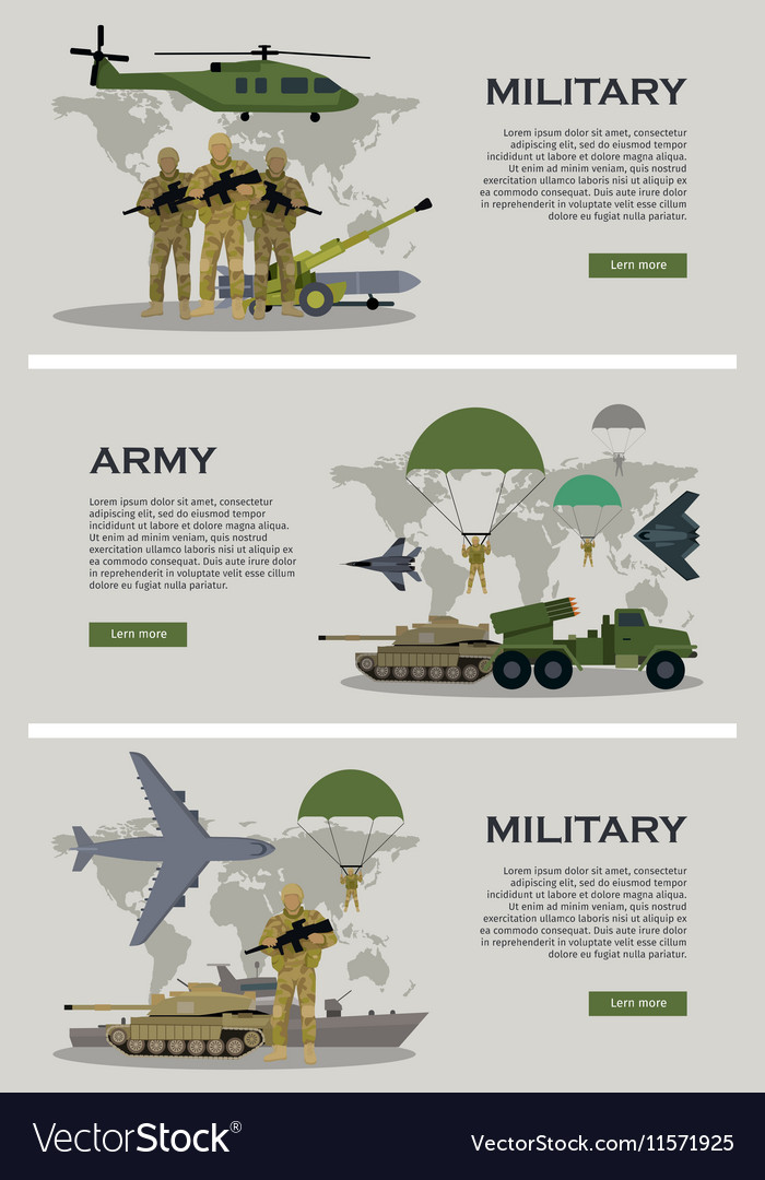 Military Infographic Banner with World Map