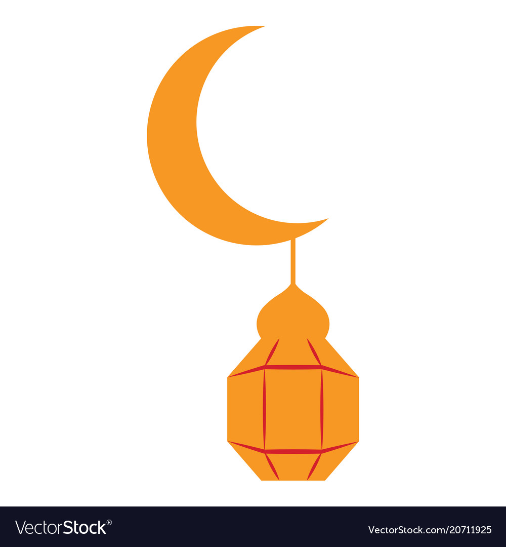 Moon with an arabic lamp icon