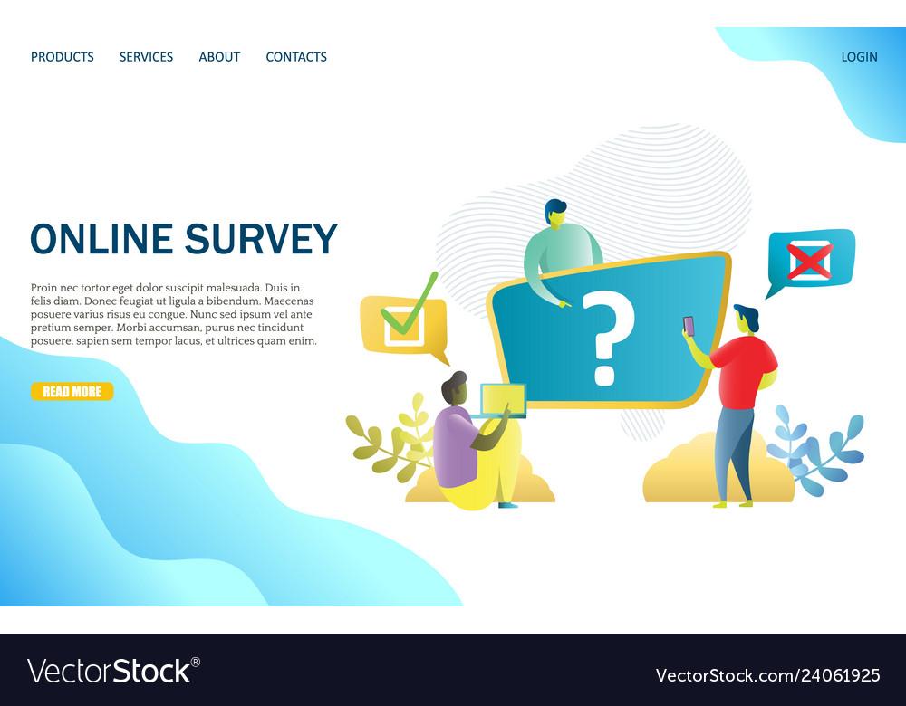 Online survey website landing page design