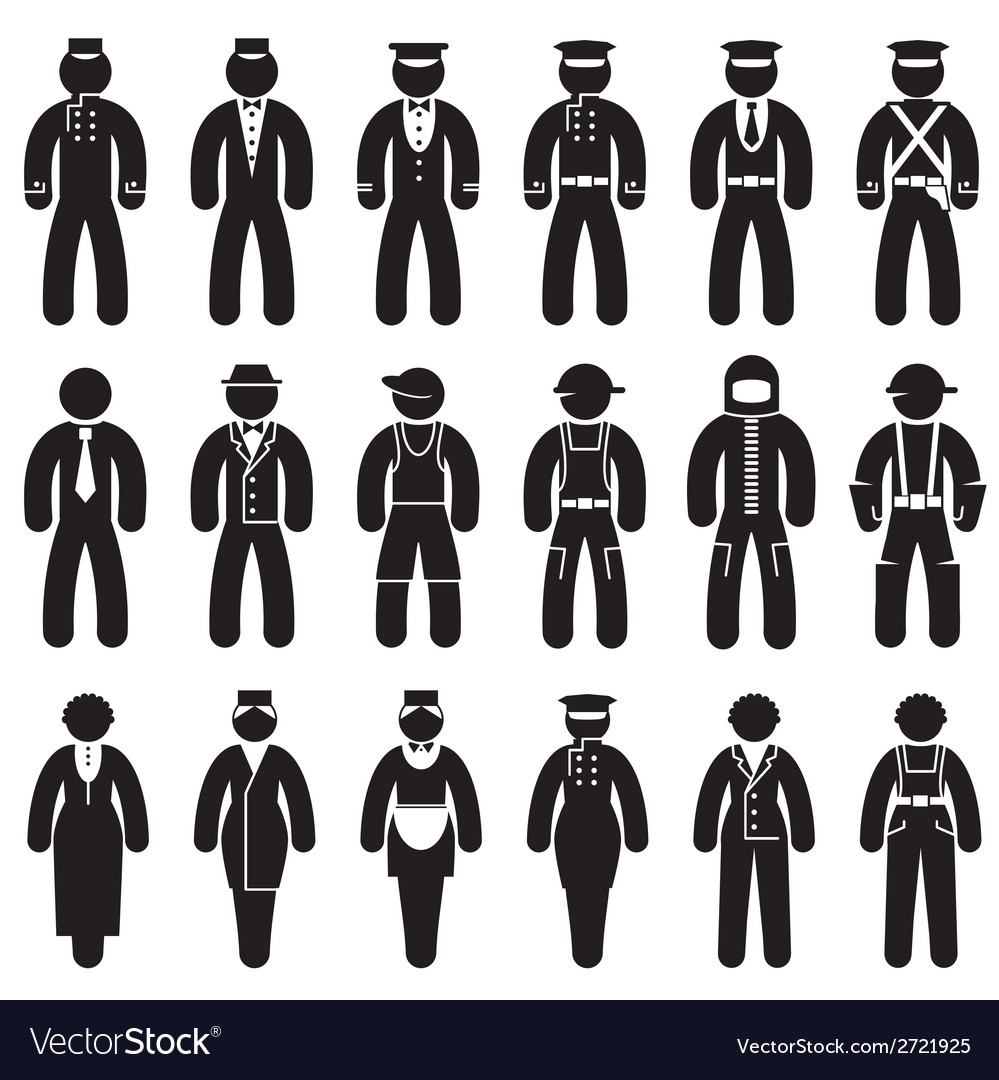 Peoples uniforms icons vector image