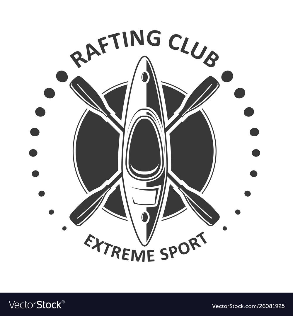 Rafting or kayaking club emblem - canoe kayak icon