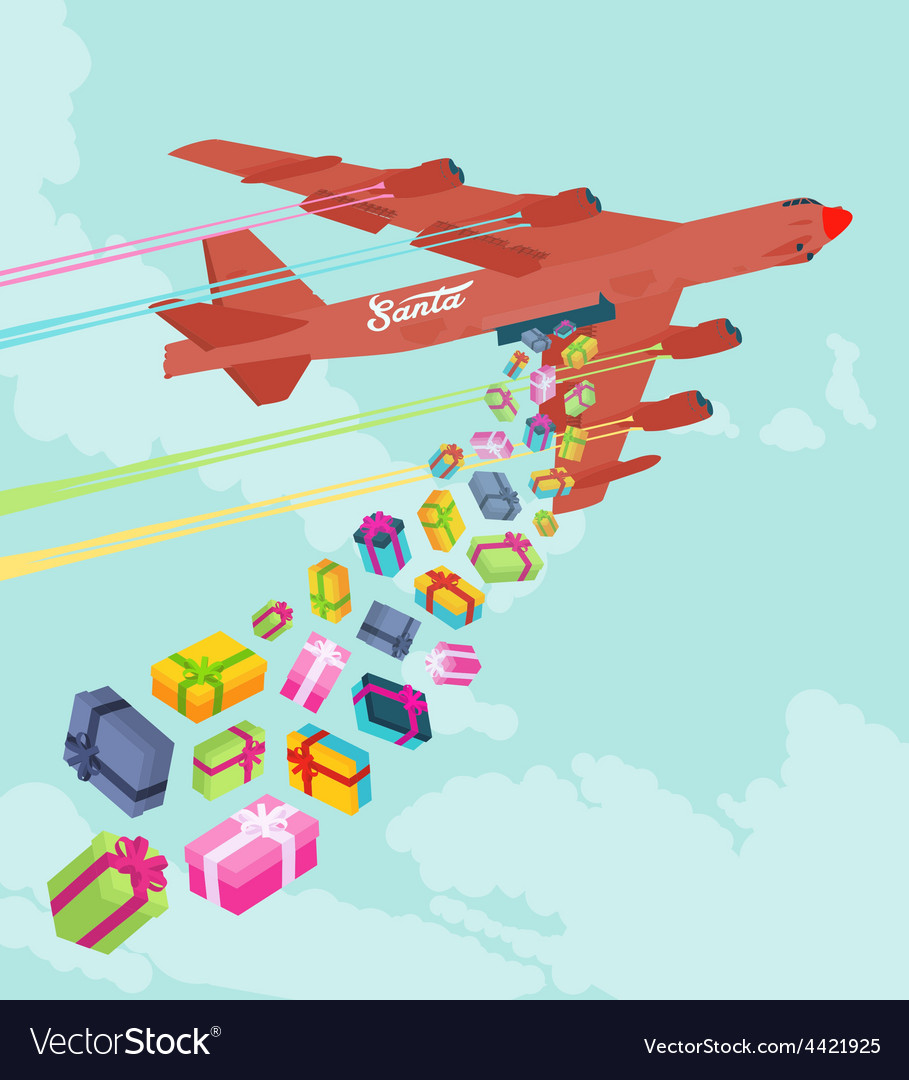 Santas bomber dropping the gifts vector image