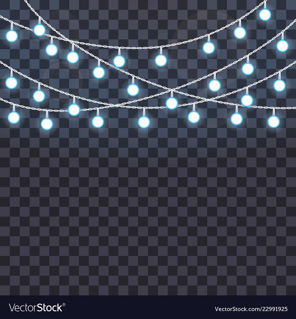 Glowing String Lights On A Vector Image