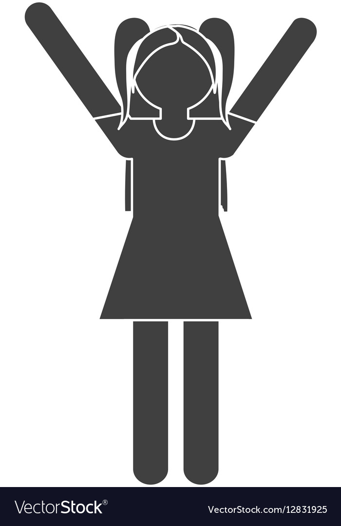 Silhouette girl daughter cheerful family vector image