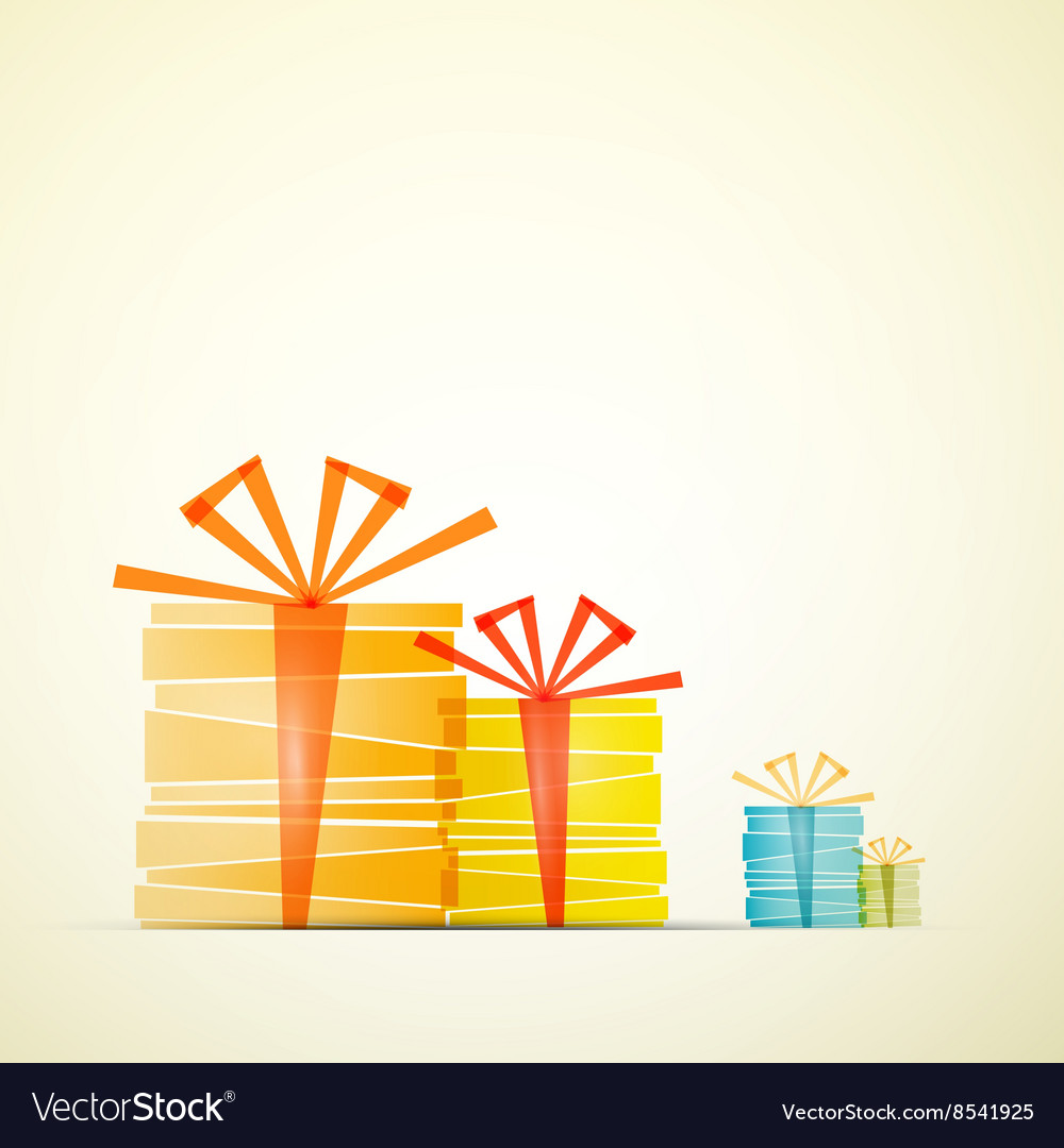 Transparent Gift Boxes on Retro Paper Background vector image