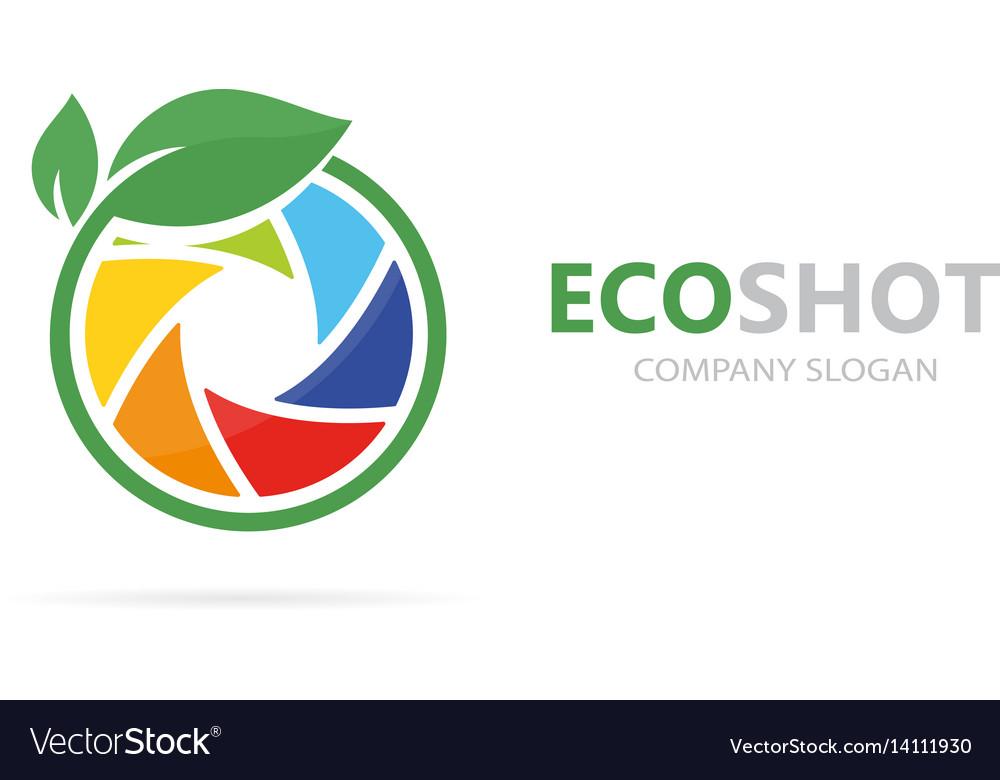 A camera shutter and leaf logo
