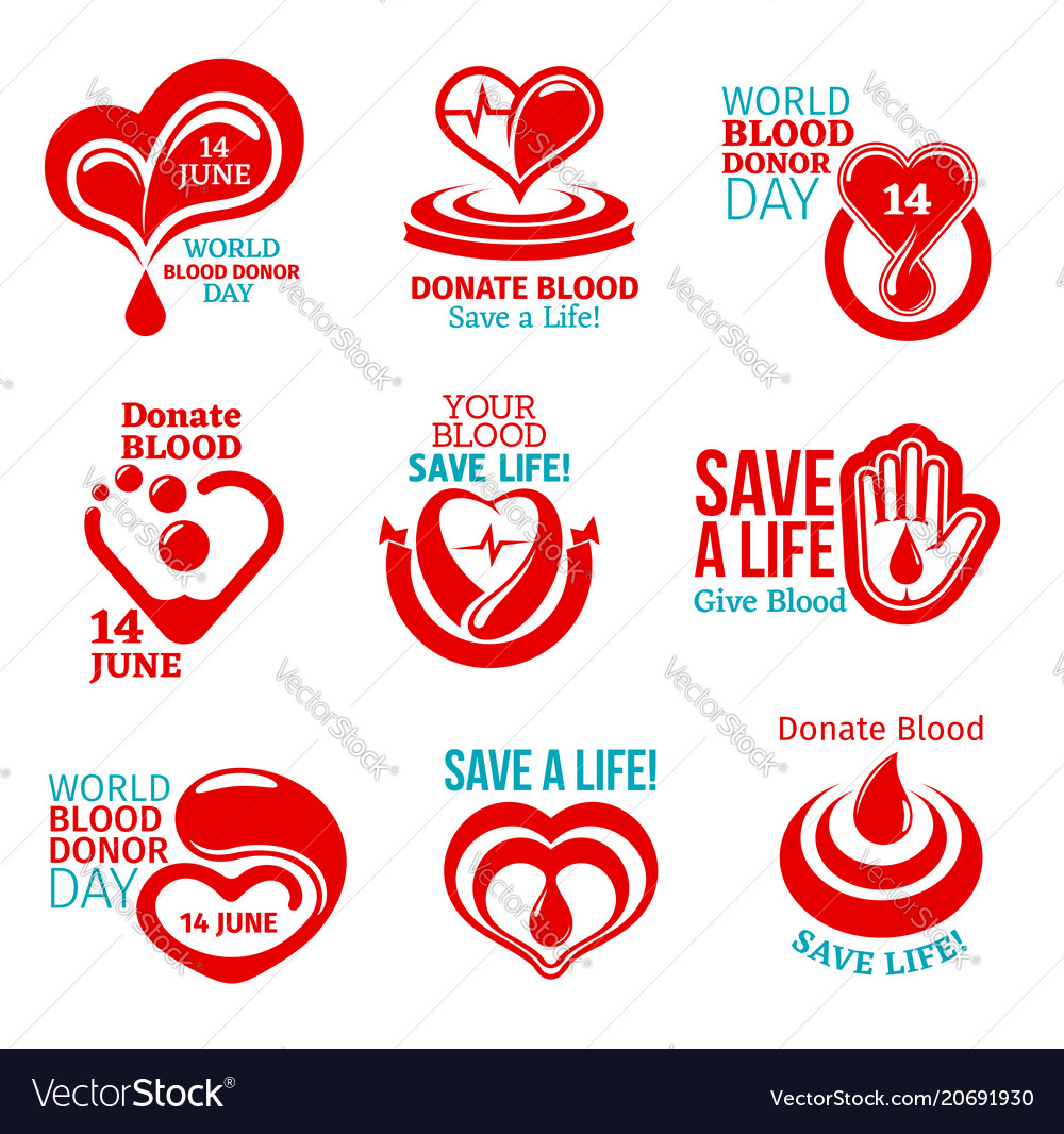 Blood donor day icon for health charity design