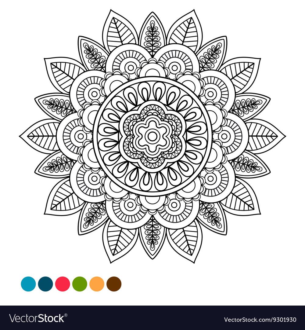 Circle mandala ornament antistress coloring vector image
